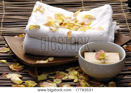soap and rose withered petals for relax bath