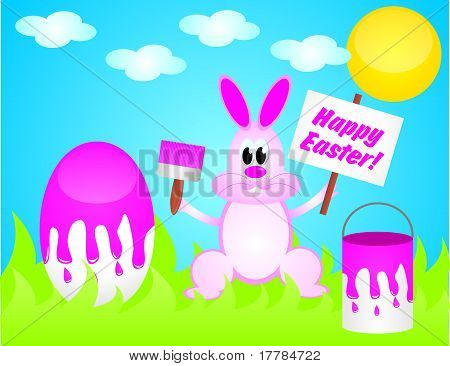Easter Rabbit Painting Egg
