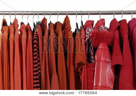 Autumn and winter red clothes rack display