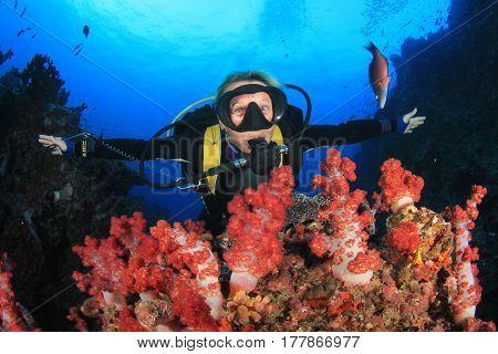 Female scuba diver explores coral reef