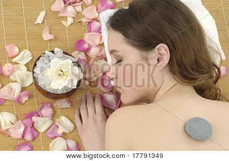 cute woman relaxing herself in a spa