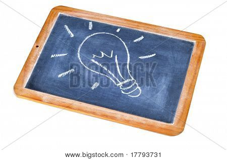 a light bulb drawn in a blackboard symbolizing the concept idea