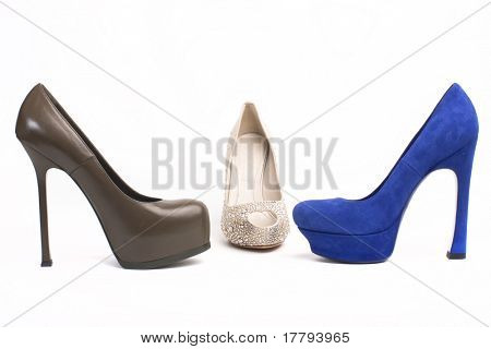 group of different types of woman shoes