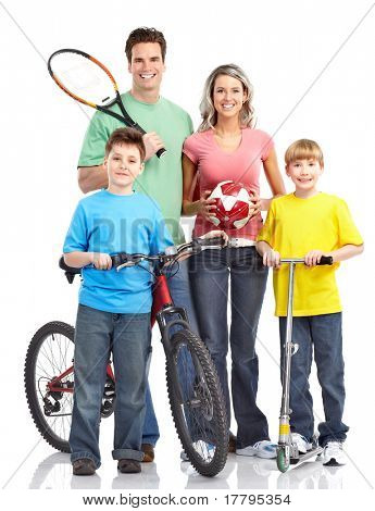 Happy sportive family. Father, mother and children.  Over white background