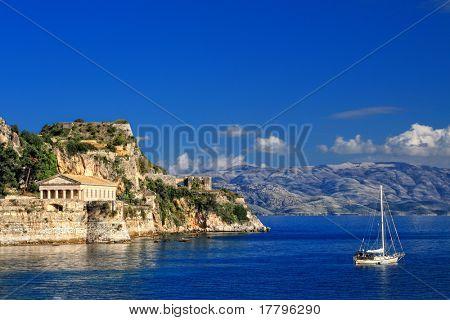 Hellenic temple at Corfu island, Greece