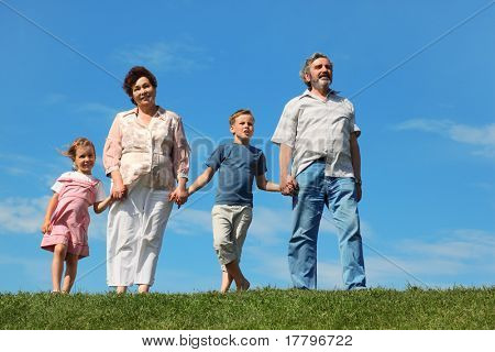 grandfather and grandmother standing on green lawn and holding for hands grandchilds