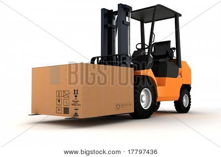 3d forklift and a big cardboard box