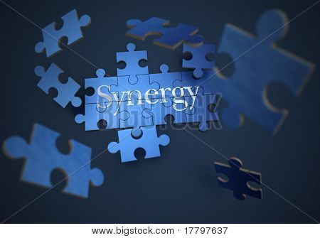 3D rendering of a forming puzzle with the word synergy