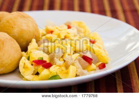Gemüse Knödel mit Saltfish