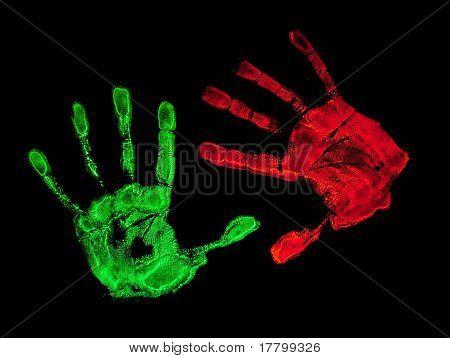 UV hand prints with black background