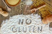 Gluten Free Cereals Corn, Rice, Buckwheat, Quinoa, Millet, Pasta And Flour With Scratched Text No Gl poster