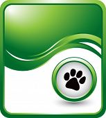 image of paw-print  - paw print on green wave backdrop - JPG