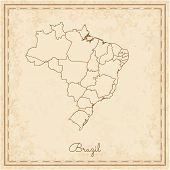 Brazil Region Map: Stilyzed Old Pirate Parchment Imitation. Detailed Map Of Brazil Regions. Vector I poster