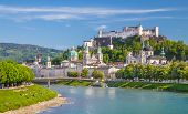 Salzburg Skyline With Festung Hohensalzburg And Salzach River In Summer, Salzburg, Salzburger Land, poster