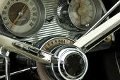 stock photo of speedo  - Close up detail of a classic car at a car show - JPG