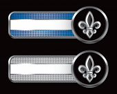 fleur de lis on blue and silver checkered tabs