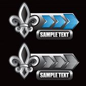 fleur de lis blue and gray arrow nameplates