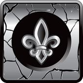 fleur de lis silver cracked web button