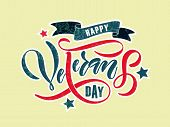 Hand Sketched Text happy Veterans Day On Textured Background. Happy Veterans Day Vector Lettering  poster