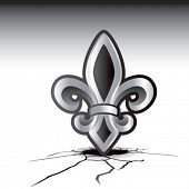 stock photo of fleur de lis  - fleur de lis cracked ground - JPG