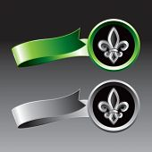 fleur de lis green and gray ribbons