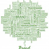 BRAND. Word collage on white background. Vector illustration. Illustration with different association terms. poster