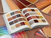 Interior design and house renovations concept. Catalog of wood samples, color palette and leather sw poster