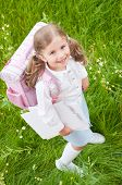 stock photo of little school girl  - Back to school  - JPG