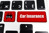 CAR INSURANCE button on keyboard, closeup poster