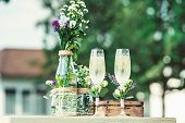 Beautiful Vintage Wedding Ceremony Outdoors. Summertime. poster