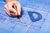 Architecture Blueprint Drawing poster