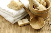 image of washtub  - bath accessories on the bamboo mat - JPG