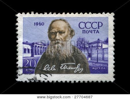 Ussr - Circa 1960: Cancelled Stamp Printed In Ussr, Shows Famous Russian Writer Lev Tolstoy, Circa 1