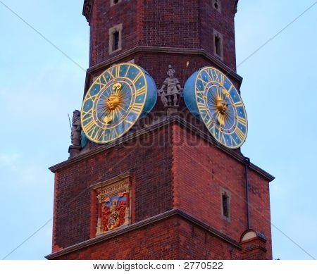 Clocks On City Tower #3