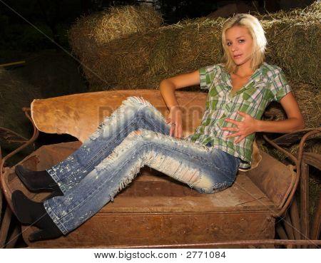 Blond Lady Sitting Sideways On Cart