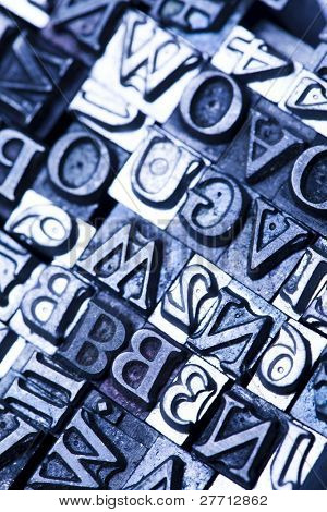 A selection of random letterpress type characters - typography