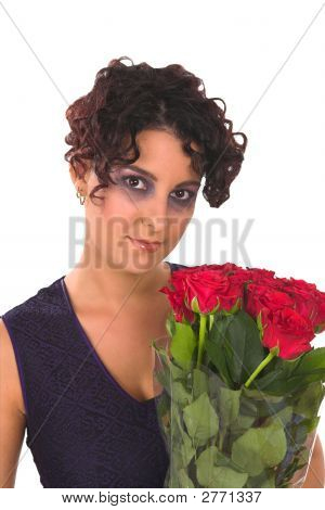 Red Roses Blue Dress Valentine Day