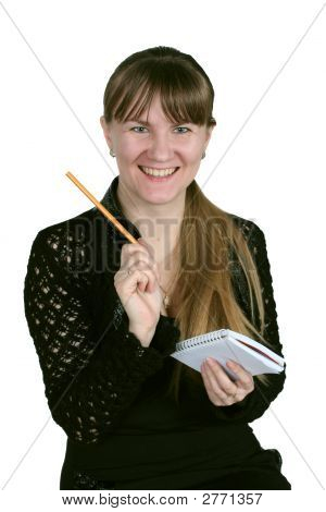 Girl With Pencil And Notebook