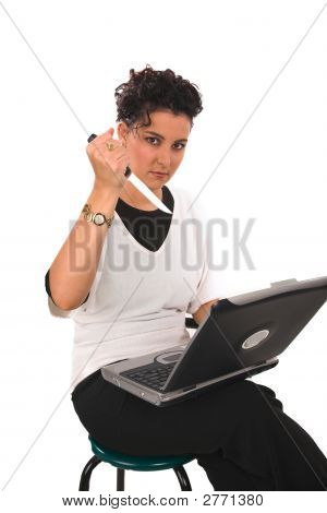 Frustrated Lady Stabbing Laptop