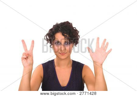 Lady Showing Seven Fingers