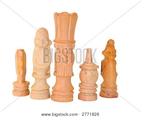 African Chess King And His Men Soap Stone Artifact