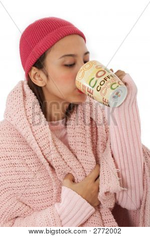 Freezing Lady Sipping A Hot Coffee