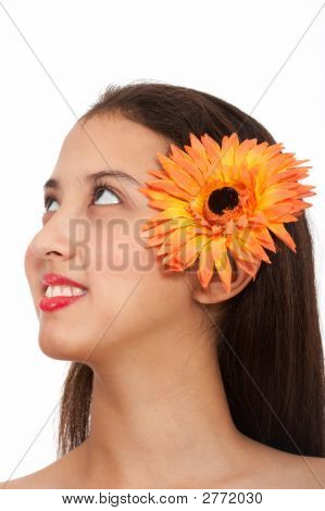 Lady With Flower Looking Up