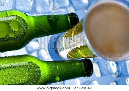 Cold, ice beer bottle