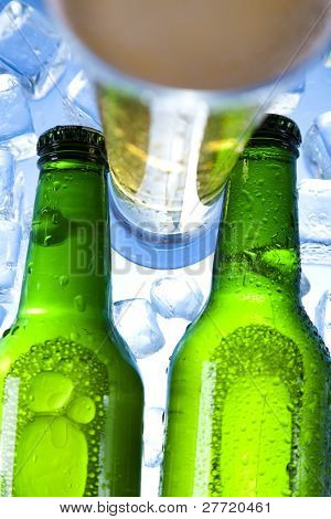 Cold beer bottle