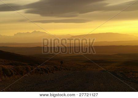 Patagonian sunset. Road 40.