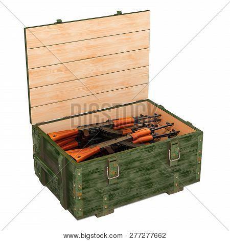 Assault Rifles Inside Wooden Ammunition