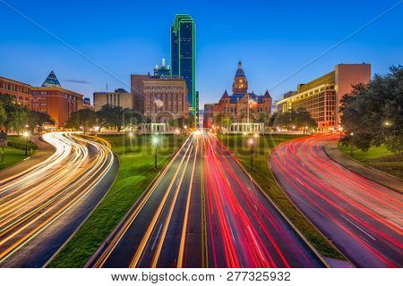 poster of Dallas, Texas, USA skyline over Dealey Plaza at twilight.