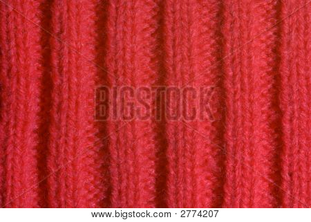 Red Knitted Wool Close Up