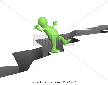 3D Person - Puppet, Balancing At Edge Of A Precipice